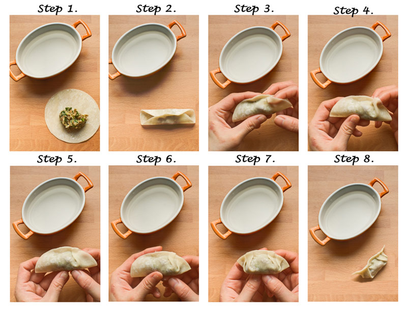 Place the dumplings onto a plate with some flour on the plate to ...