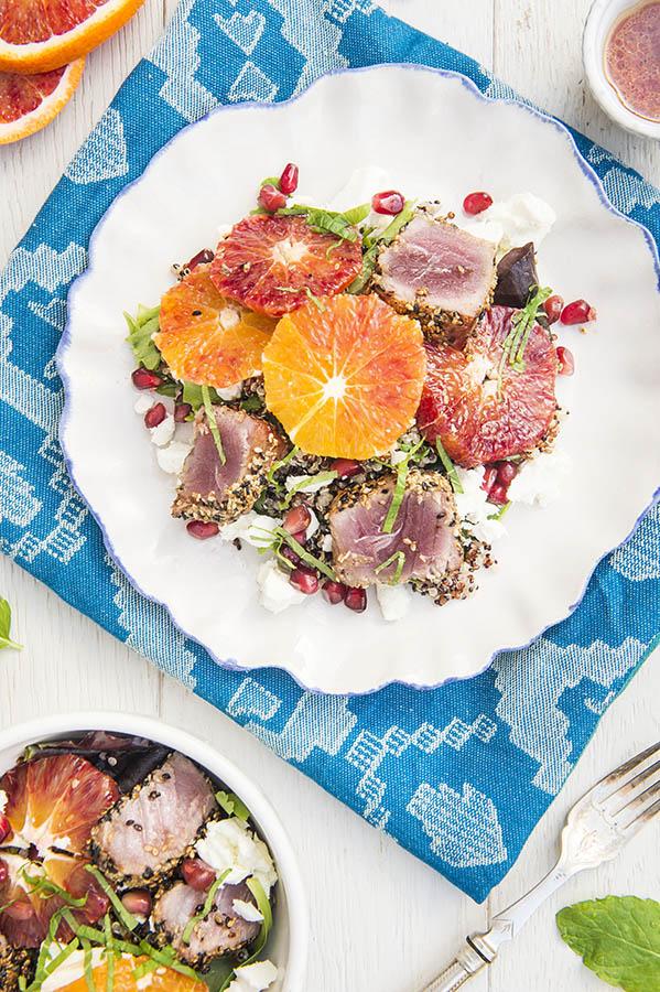 Blood Orange and Seared Tuna Quinoa Salad