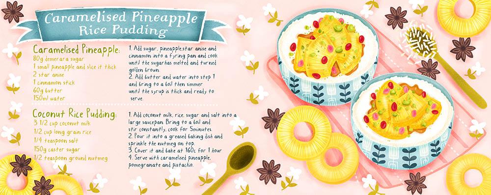caramelised rice pudding illustration