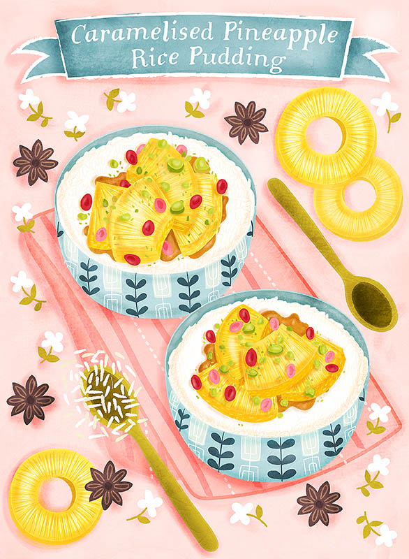 pineapple rice pudding illustration