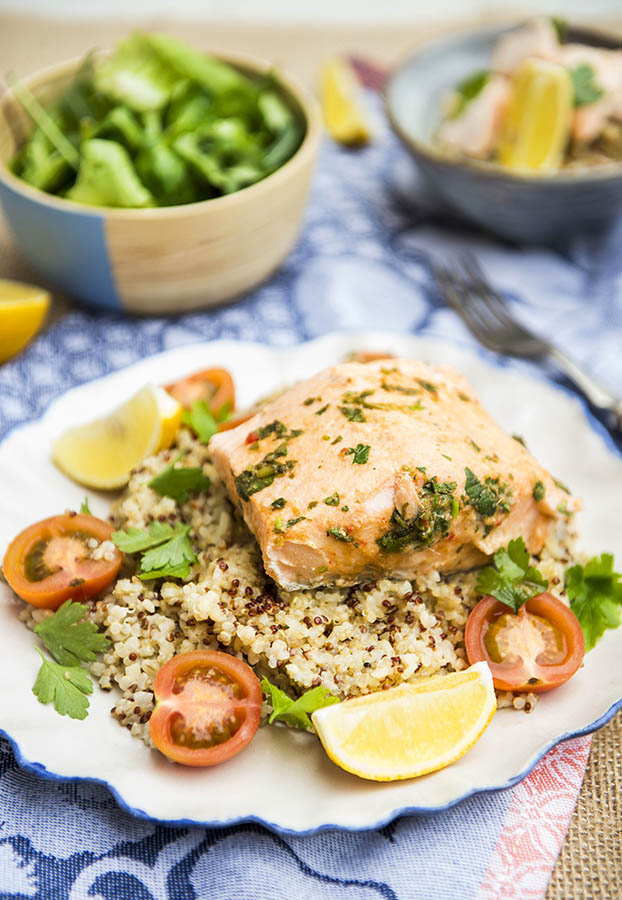 thai steamed fish with coconut quinoa
