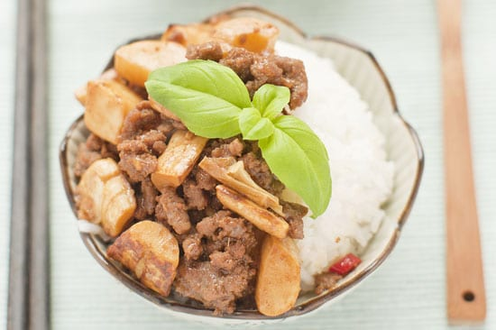 stir fried pickled bamboo shoot with beef mince recipe