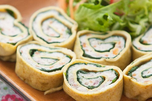 egg spinach and squid roll recipe