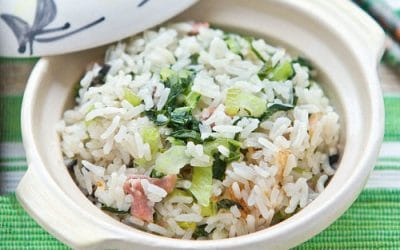 Cooked Rice with Bak Choy and Gammon