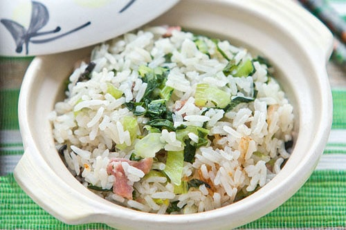 cooked rice with bak choy and gammon recipe