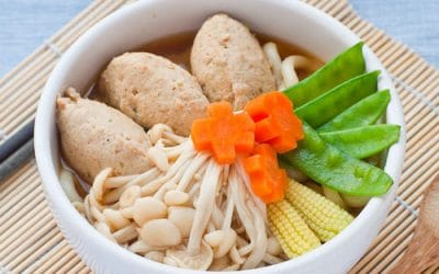 Japanese chicken meatball and udon noodle soup