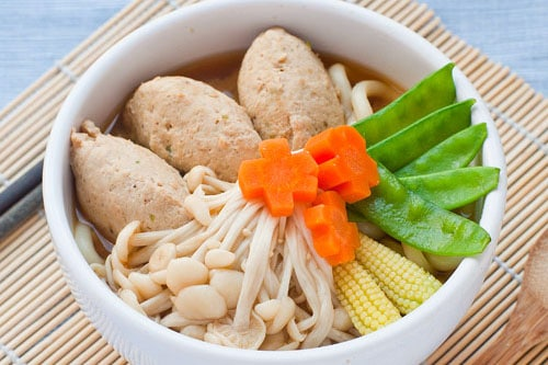 chicken meatball with udon noodle soup