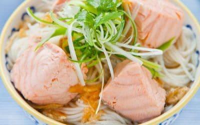 Salmon Rice Noodle Soup