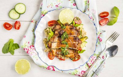 Simple Chinese Garlic Chicken with Quinoa Salad