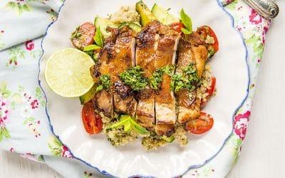 Simple Chinese Garlic Chicken with Quinoa Salad