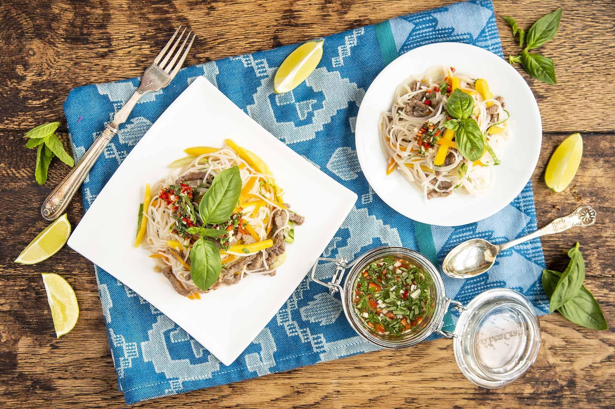 mango beef rice noodle salad