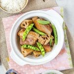 red cooked pork belly with lotus root