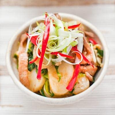 Delicious Savoury Stir Fried Rice Cake With Spring Greens And Pork Recipe