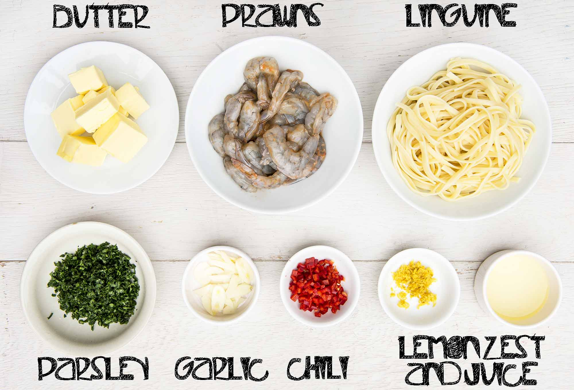 prawn and lemon butter pasta ingredients