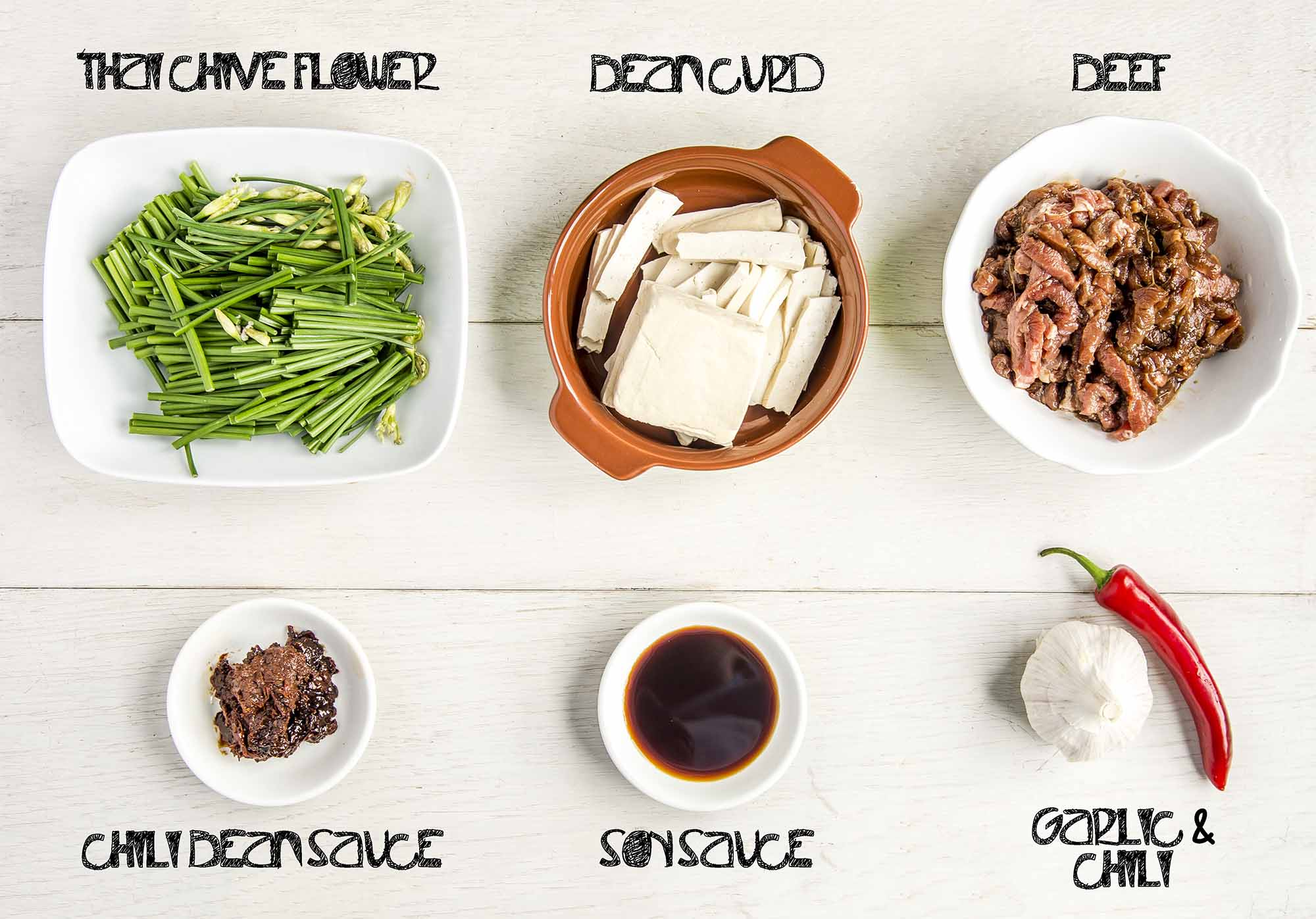 Stir Fried Beef with Thai Chive Flower and Bean Curd